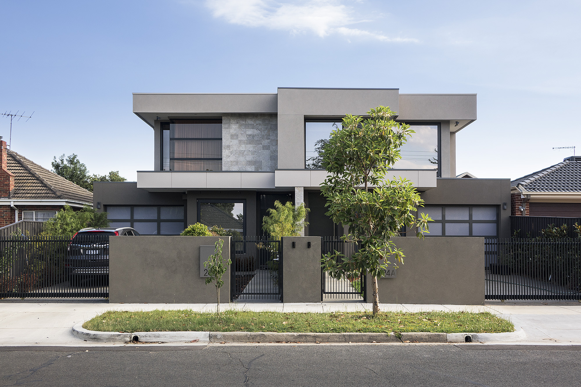 Multi residential architecture luxury townhouse design for Side by side plans